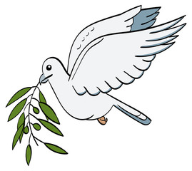 Dove in flight holding an Olive Branch in its beak.