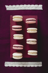 Macaroons on a book