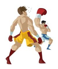 Fototapeta boxer performing an uppercut punch on opponent obraz