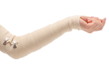 Female hand elastic bandage injury