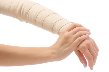 Female hand elastic bandage injury
