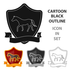 Equestrian blaze icon in cartoon style isolated on white background. Hippodrome and horse symbol stock vector illustration.