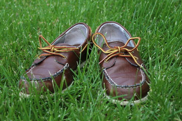 Brown Child Shoes in Grass