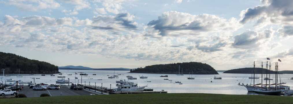 Landscape view of the harbor in Bar Harbor Maine