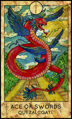 Quetzalcoatl. Feathered serpent, aztec god. Minor Arcana Tarot Card. Ace of Swords