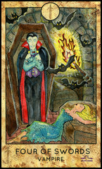 Vampire Dracula. Minor Arcana Tarot Card. Four of Swords