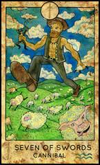Giant Cannibal. Minor Arcana Tarot Card. Seven of Swords