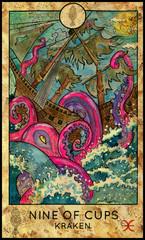 Kraken. Sea monster. Minor Arcana Tarot Card. Nine of Cups