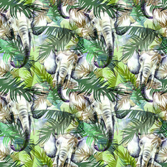 Watercolor exotic seamless pattern. Elephants with colorful tropical leaves. African animals background. Wildlife art illustration. Can be printed on T-shirts, bags, posters, invitations, card.