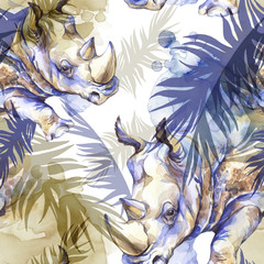 Watercolor exotic seamless pattern. Rhinoceros with colorful tropical leaves. African animals background. Wildlife art illustration. Can be printed on T-shirts, bags, posters, invitations, card.