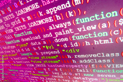 IT coding on monitor screen  Technology background  Software source