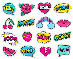 Modern colorful patch set on white background. Fashion patches of cherry, strawberry, watermelon, lips, rose flower, rainbow, hearts, comic bubbles. Cartoon 80s-90s pop art style. Vector illustration
