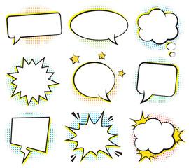 Retro empty comic bubbles and elements set with colorful halftone shadows. Vector illustration, vintage design, pop art style.