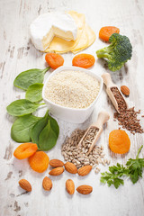 Products and ingredients containing calcium and minerals, healthy nutrition