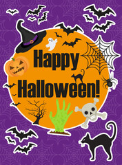 Halloween poster. Happy Halloween templates for your invitation design, greeting card, flyer. Vector illustration