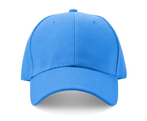 Light blue cap isolated on white background.
