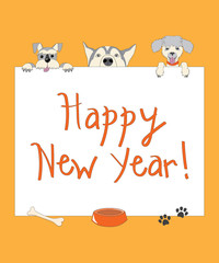 Funny new year orange card with cartoon dogs