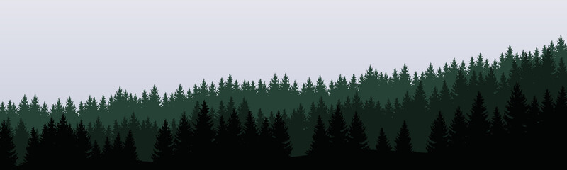 panoramic vector illustration of a forest under a overcast gray sky