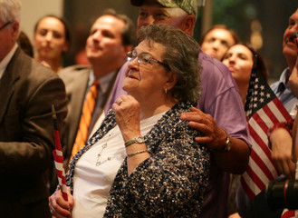 Republican candidate Roy Moore's mother Evelyn Ridgeway watches as her son Roy makes his victory speech to his supporters at the RSA Activity center in Montgomery