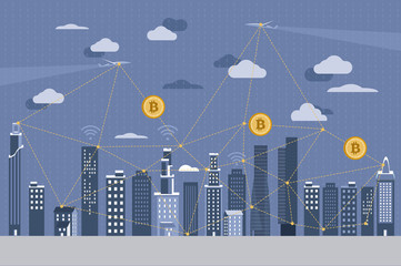 Modern City and Blockchain Concept