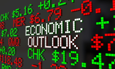 Economic Outlook Stock Market Ticker Financial Futures Forecast 3d Illustration
