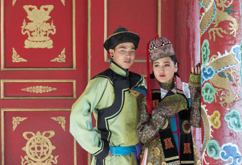 mongolian couple in traditional 13th century style outfit