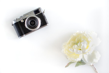 Peony and camera on the white background