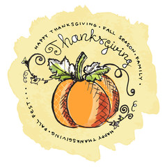 Hand drawn pumpkin with text on watercolor background
