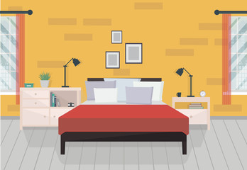 Modern orange bedroom interior with furniture and windows. Family bedroom. Vector illustration in flat style with shadows.