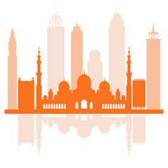 Vector illustration of United Arab Emirates skyscrapers silhouette. Dubai and Abu dhabi buildings.