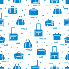 Cute seamless pattern with different bag and suitcases for travel. Summer time, vacation.