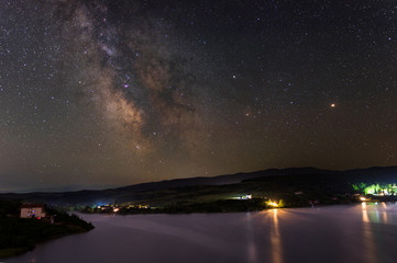 Milky Way over Cincis lake in Romania