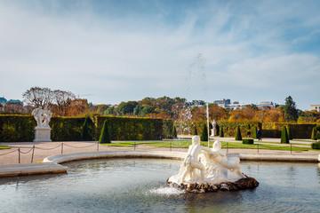 Fountain in the garden in Belvedere Palace, Vienna, Austria
