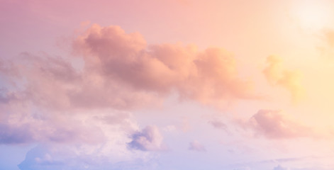 Beautiful clouds in a blue sky, top view.