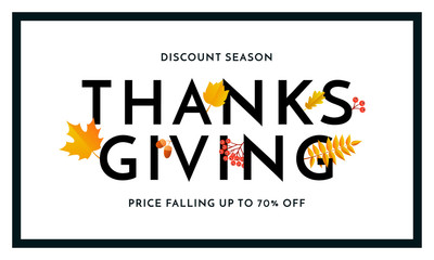 Thanksgiving autumn sale poster for fall season discount promo offer and 70 percent off for autumnal shopping. Vector autumn maple and oak leaf foliage for store leaflet or sale web banner background