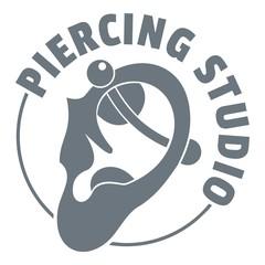 Piercing logo, simple gray style