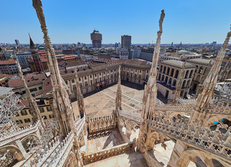 The roof terrace of Milan Duomo Cathedral in central Milan Italy