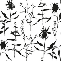 Vector floral seamless pattern with wild meadow flowers, herbs and grasses. Thin delicate line silhouettes of different plants like sunflowers and basil.
