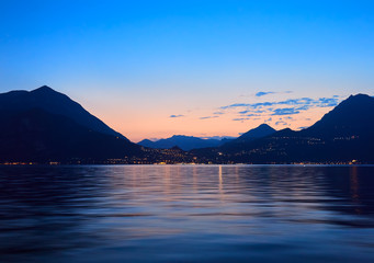 Sunset on Lake Como in Italy