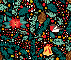 Cute hand drawn winter holidays seamless pattern