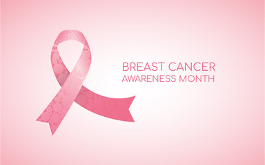Pink ribbon, breast cancer awareness symbol. October is month of Breast Cancer Awareness in the world.