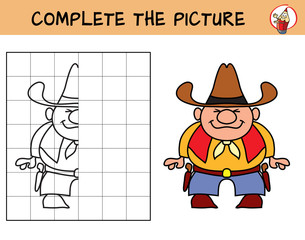 Cowboy. Copy the picture. Coloring book. Educational game for children. Cartoon vector illustration