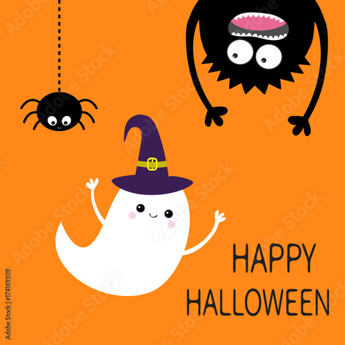 Happy Halloween Card. Flying Ghost Spirit Witch Hat. Monster Head  Silhouette. Eyes,