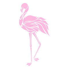 Beautiful pink flamingo silhouette, decorative logo, vector illustration