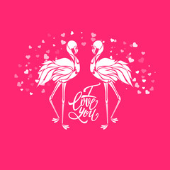 Valentine romantic card, two pink flamingos in love, vector illustration