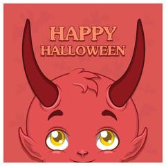 Cute devil Halloween greeting