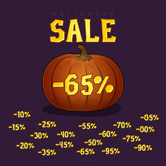 Pumpkin with a Discount 65 Percent, Halloween Sale, Set of Different Discounts Digits for the Holiday, Vector Illustration
