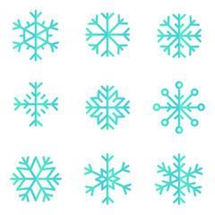 Snowflakes shape vector icon set. Creative snow design