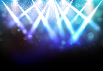 Magic Spotlights with Blue rays and glowing effect for party event, concert, advertising, Vector
