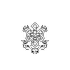 Graphic illustration of dots endless knot symbol